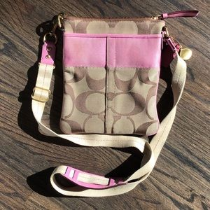 Coach signature canvas crossbody with pink detail